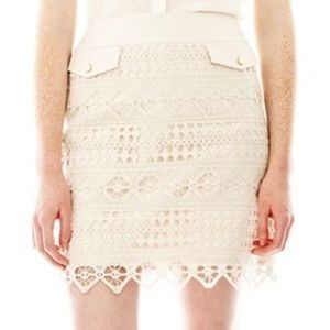 Joe Fresh cream crochet pencil skirt